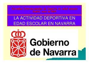 Jornadas Internacionales de Deporte en edad escolar Madrid, mayo de 2009 LA ACTIVIDAD DEPORTIVA EN EDAD ESCOLAR EN NAVARRA