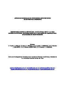 JORNADAS NACIONALES DE PROFESORES UNIVERSITARIOS DE MATEMATICA FINANCIERA