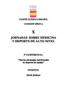 JORNADAS SOBRE MEDICINA Y DEPORTE DE ALTO NIVEL