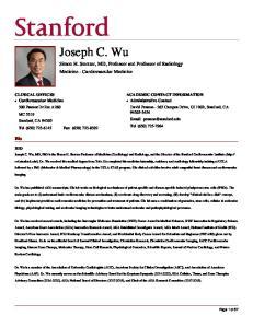 Joseph C. Wu. Simon H. Stertzer, MD, Professor and Professor of Radiology Medicine - Cardiovascular Medicine. Bio