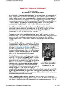 Joseph Henry: Inventor of the Telegraph?