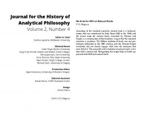 Journal for the History of Analytical Philosophy Volume 2, Number 4