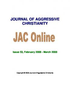 JOURNAL OF AGGRESSIVE CHRISTIANITY