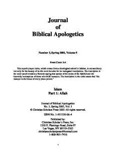 Journal of Biblical Apologetics