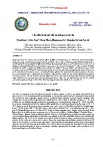 Journal of Chemical and Pharmaceutical Research, 2014, 6(3): Research Article. The effects of soil ph on tobacco growth