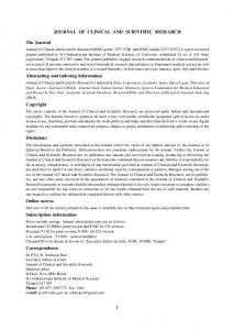 JOURNAL OF CLINICAL AND SCIENTIFIC RESEARCH