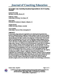 Journal of Coaching Education