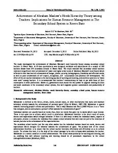 Journal of Curriculum and Teaching Vol. 2, No. 1; 2013
