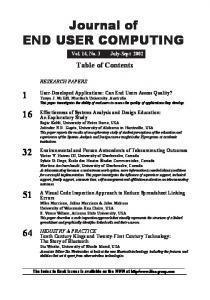 Journal of END USER COMPUTING