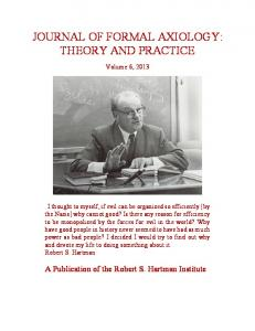 JOURNAL OF FORMAL AXIOLOGY: THEORY AND PRACTICE