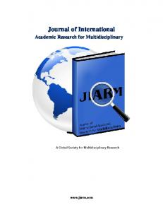 Journal of International Academic Research for Multidisciplinary