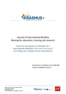 Journal of international Mobility Moving for education, training and research