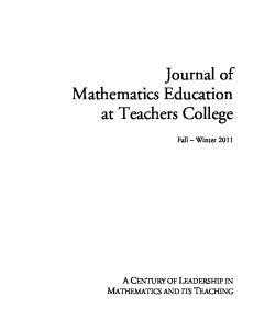 Journal of Mathematics Education at Teachers College