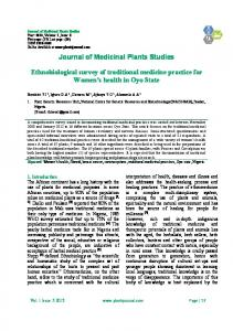 Journal of Medicinal Plants Studies. Ethnobiological survey of traditional medicine practice for Women s health in Oyo State