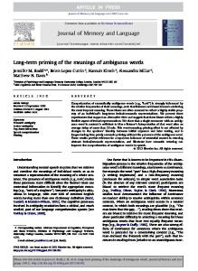 Journal of Memory and Language