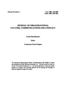 JOURNAL OF ORGANIZATIONAL CULTURE, COMMUNICATIONS AND CONFLICT