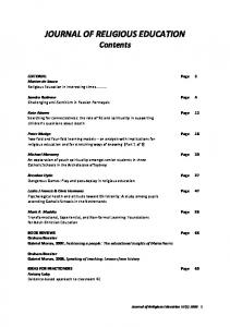 JOURNAL OF RELIGIOUS EDUCATION Contents