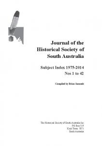 Journal of the Historical Society of South Australia