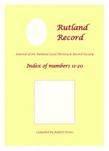 Journal of the Rutland Local History & Record Society