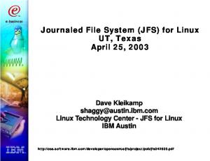 Journaled File System (JFS) for Linux UT, Texas April 25, 2003