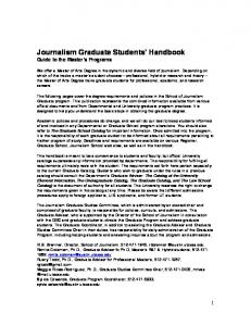 Journalism Graduate Students Handbook Guide to the Master s Programs