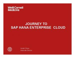 JOURNEY TO SAP HANA ENTERPRISE CLOUD. Harish Chava Associate Director