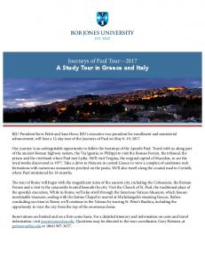 Journeys of Paul Tour 2017 A Study Tour in Greece and Italy