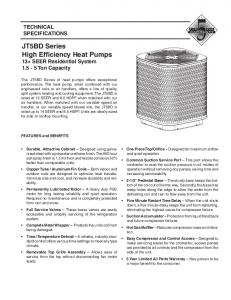 JT5BD Series High Efficiency Heat Pumps 13+ SEER Residential System Ton Capacity