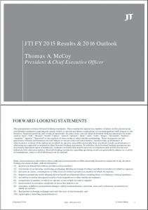 JTI FY 2015 Results & 2016 Outlook