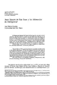 Juan Huarte de San Juan y las diferencias de inteligencia*