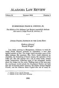 JUDGE FRANK JOHNSON IN THE LONG RUN