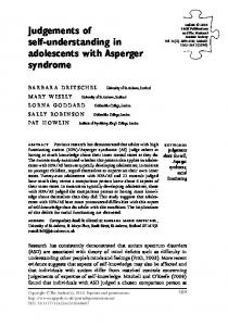 Judgements of self-understanding in adolescents with Asperger syndrome