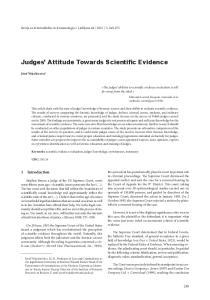 Judges Attitude Towards Scientific Evidence