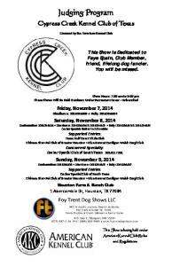 Judging Program. Cypress Creek Kennel Club of Texas. Licensed by the American Kennel Club