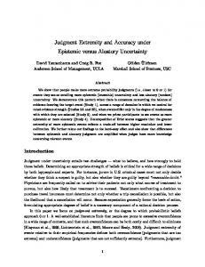 Judgment Extremity and Accuracy under Epistemic versus Aleatory Uncertainty