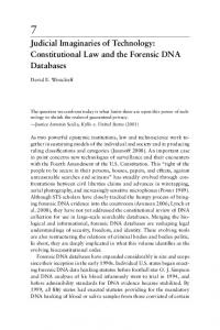 Judicial Imaginaries of Technology: Constitutional Law and the Forensic DNA Databases