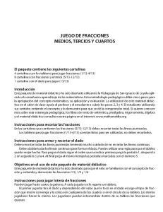 JUEGO DE FRACCIONES MEDIOS, TERCIOS Y CUARTOS