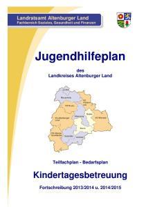 Jugendhilfeplan. Kindertagesbetreuung. Landratsamt Altenburger Land Fachbereich Soziales, Gesundheit und Finanzen. des Landkreises Altenburger Land