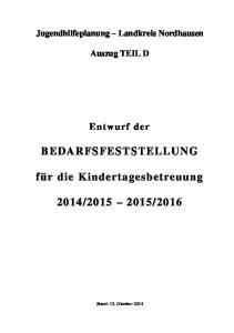 Jugendhilfeplanung Landkreis Nordhausen. Auszug TEIL D