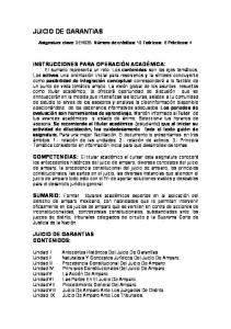 JUICIO DE GARANTIAS JUICIO DE GARANTIAS CONTENIDOS: