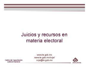 Juicios y recursos en materia electoral