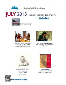 JULY 2015 Branch Library Calendars