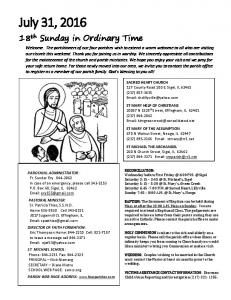 July 31, th Sunday in Ordinary Time