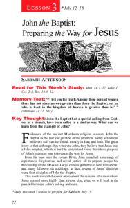 *July John the Baptist: Preparing the Way for Jesus