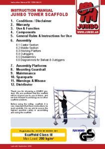 JUMBO JUMBO TOWER SCAFFOLD INSTRUCTION MANUAL