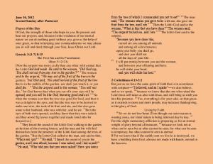 June 10, 2012 Second Sunday after Pentecost