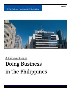 June A General Guide. Doing Business in the Philippines