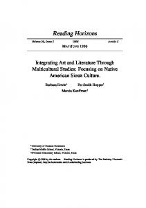 JUNE Integrating Art and Literature Through Multicultural Studies: Focusing on Native American Sioux Culture