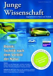 Junge. Wissenschaft. Bionik: Technik nach dem Vorbild der Natur. Young Researcher. Jugend forscht in Natur und Technik