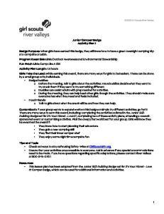 Junior Camper Badge Activity Plan 1